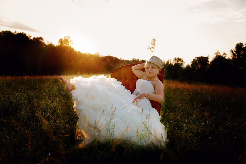 Vintage Sunset Country Field Bridal Gown