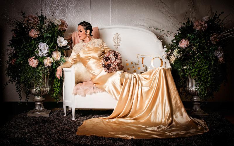 vintage, bride, gown, studio