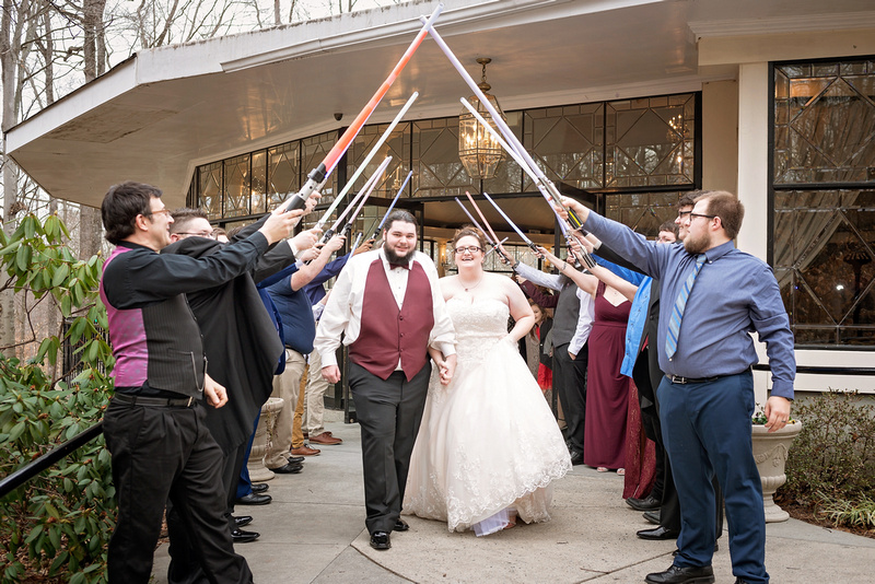 light sabers, wedding exit, greensboro